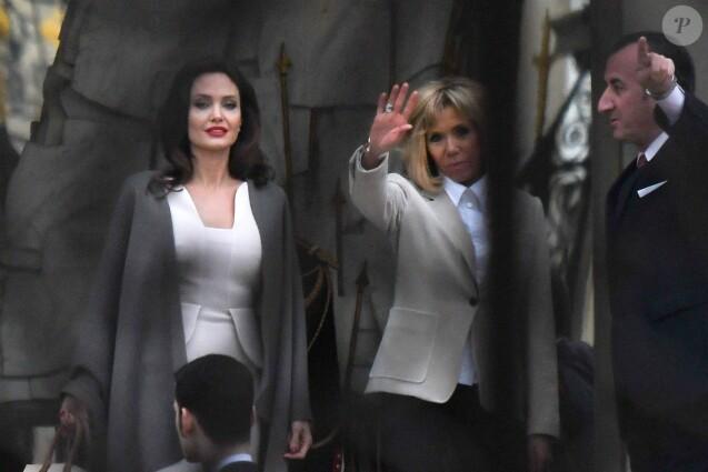 Semi Exclusif - José Pietroboni, chef du protocole - Angelina Jolie lors d'un rendez-vous avec Brigitte Macron au palais de l'Elysée à Paris le 30 janvier 2018.