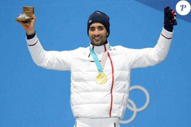 Martin Fourcade (médaille d'or) pendant la cérémonie de remise de médailles lors de la 23ème édition des Jeux Olympiques d'hiver à Pyeongchang, Corée du Sud, le 13 février 2018. © Christopher Levy/Zuma Press/Bestimage
