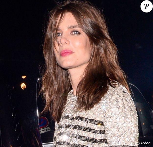 Charlotte Casiraghiarrive au défilé Saint Laurent à l'occasion de la Fashion Week de Paris pour les collelctions automne/hiver 2018/2019 le 27 février 2018