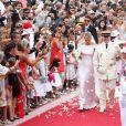 La princesse Charlene et le prince Albert II de Monaco lors de leur mariage religieux le 2 juillet 2011.