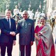 La première dame Brigitte Macron, le président Emmanuel Macron, le président Ram Nath Kovind, Savita Koving, le premier ministre de la république de l'Inde, Narendra Modi - Le président Emmanuel Macron et sa femme Brigitte sont en visite d'Etat en Inde le 10 mars 2018.