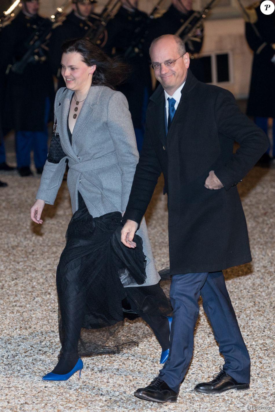 Jean,Michel Blanquer et sa compagne , Le grand,duc et la grande,duchesse de  Luxembourg assistent au dîner d\u0027Etat organisé au Palais de l\u0027Elysée par le