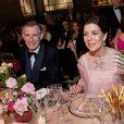 La princesse Caroline de Hanovre à table lors du 64e Bal de la Rose sur le thème de Manhattan dans la Salle des Etoiles au Sporting Monte-Carlo à Monaco le 24 mars 2018. © Pierre Villard / Palais Princier / SBM via Bestimage