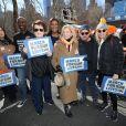 Billie Jean King, Caroline Mulroney, Michael J. Fox et sa femme Tracy Pollan - Les célébrités et des centaines de milliers de manifestants protestent contre les armes à feu (March For Our Lives) à New York, le 24 mars 2018
