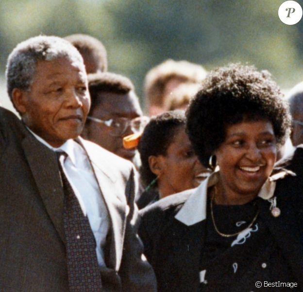 Nelson Mandela et sa femme Winnie, Afrique du Sud, 11 Fevrier 1990.