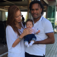 Jackie Chamoun, son époux Christian Karembeu et leur fille. Octobre 2017.