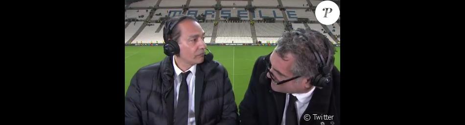 Denis Balbir (à gauche) et Jean-Marc Ferreri (à droite), commentateurs d'OM-Leipzig le 12 avril 2018.