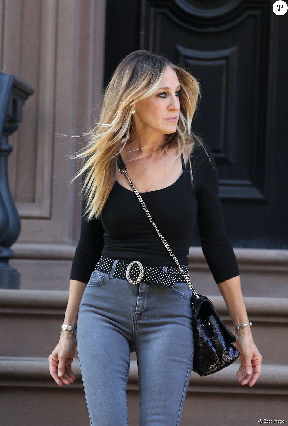 Sarah Jessica Parker à la sortie de son domicile à New York, le 23 avril 2018.