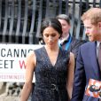Le prince Harry et sa fiancée Meghan Markle ont assisté à l'office religieux en mémoire de Stephen Lawrence, un jeune homme noir britannique tué en 1993 à l'âge de 18 ans lors d'un meurtre raciste, à l'église St Martin-in-the-Fields à Londres, Royaume Uni, le 23 avril 2018.