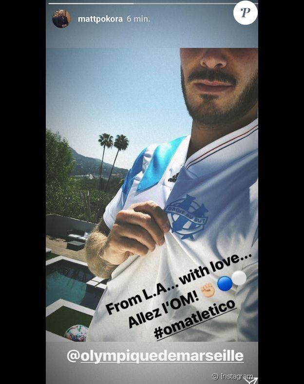 M. Pokora soutient l'Olympique de Marseille depuis Los Angeles le 16 mai 2018.