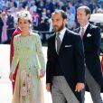 Pippa Middleton, son mari James Matthews et son frère James Middleton arrivent à la chapelle St. George pour le mariage du prince Harry et de Meghan Markle au château de Windsor, Royaume Uni, le 19 mai 2018.
