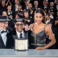 """Barry Alexander Brown, Spike Lee, Laura Harrier (Grand Prix pour le film """"BlacKkKlansman"""") - Photocall de la remise des palmes lors de la cérémonie de clôture du 71ème Festival International du Film de Cannes le 19 mai 2017. © Borde-Moreau/Bestimage"""