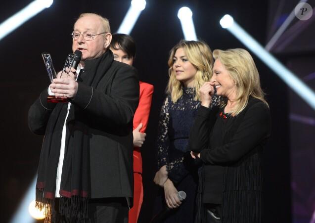 William Sheller, Jeanne Cherhal, Louane et Véronique Sanson lors de la cérémonie des 31e Victoires de la Musique le 12 février 2016 à Paris.