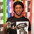 """Le footballeur Ronaldinho en promotion pour la marque de complément nutritionnel """"Kongokin"""" à l'hôtel Grand Hyatt à Tokyo. Le 28 mars 2018."""