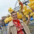 """Laura Tenoudji, la femme de C. Estrosi, le maire de Nice, pendant la 1ère Bataille de Fleurs dans le cadre de la 134ème édition du Carnaval de Nice """"Roi de l'Espace"""" dans la maison du Carnaval. © Bruno Bebert/Bestimage"""