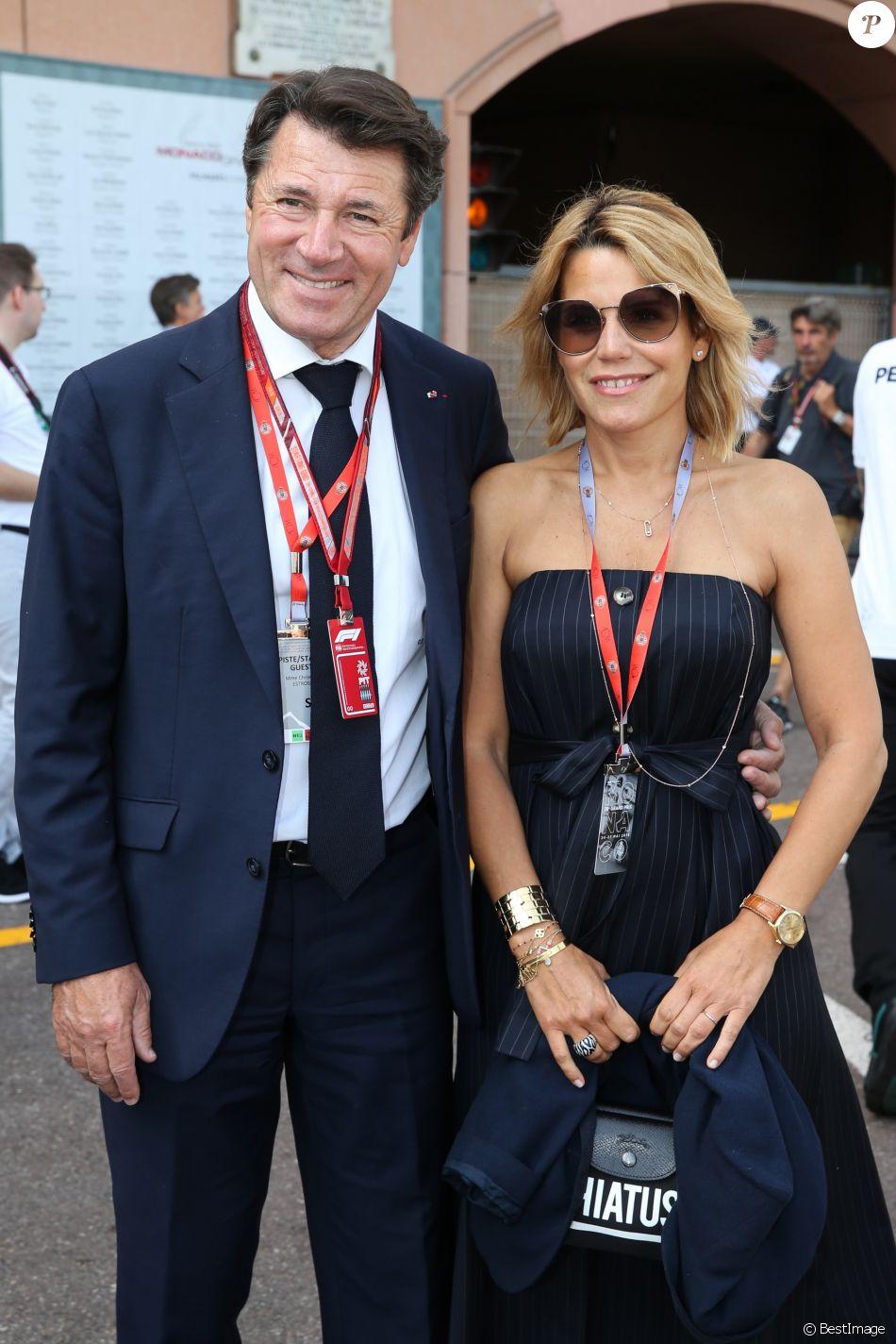 Christian Estrosi et sa femme Laura Tenoudji dans les paddocks lors du 73ème Grand Prix de Formule 1 de Monaco, le 26 mai 2018. © Olivier Huitel/Pool Monaco/Bestimage