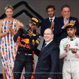Andrea Casiraghi, la princesse Charlene de Monaco, le prince Albert II de Monaco, Pierre Casiraghi félicitent le trio de tête du 76e Gran Prix de Formule 1 de Monaco remporté par Daniel Ricciardo suivi de Sebastian Vettel et Lewis Hamilton, le 27 mai 2018. © Bruno Bebert/Bestimage