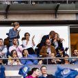 Exclusif - Valérie Trierweiler et son nouveau compagnon Romain Magellan (ex-star du rugby) s'embrassent dans les tribunes de la finale du Top 14 français entre Montpellier et Castres au Stade de France à Paris, le 2 juin 2018. ©Pierre Perusseau/Bestimage