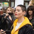 """Rose McGowan lors de la marche """"Women's WeToo WeToogether"""" pour la journée internationale des droits des femmes à Rome. Le 8 mars 2018"""