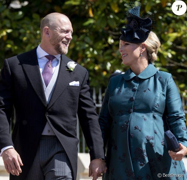 Zara Phillips (Zara Tindall) enceinte et son mari Mike Tindall - Les invités arrivent à la chapelle St. George pour le mariage du prince Harry et de Meghan Markle au château de Windsor, le 19 mai 2018.
