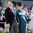 Mike Tindall et sa femme Zara Phillips Tindall (enceinte) - Les invités arrivent à la chapelle St. George pour le mariage du prince Harry et de Meghan Markle au château de Windsor, Royaume Uni, le 19 mai 2018.