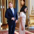 "Le prince Harry, duc de Sussex, Meghan Markle, duchesse de Sussex - Personnalités à la cérémonie ""Queen's Young Leaders Awards"" au palais de Buckingham à Londres le 26 juin 2018."