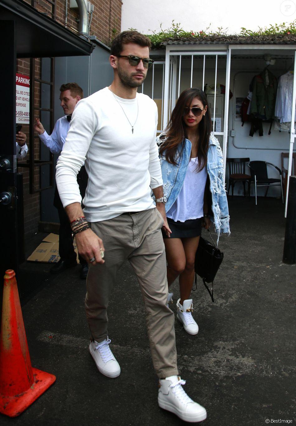 Nicole Scherzinger et son compagnon Grigor Dimitrov sont allés déjeuner au restaurant Il Pastaio à Beverly Hills, le 2 mars 2017.