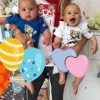 Anna Kournikova a partagé cette photo de ses jumeaux sur Instagram pour la Coupe du monde de football, le 1er juillet 2018. Ici aux couleurs de la Russie.