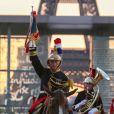 Spectacle de la Garde Républicaine lors du Longines Paris Eiffel Jumping au Champ de Mars à Paris le 5 juillet 2018.