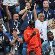 Alain Griezmann (père d'Antoine Griezmann), Isabelle Griezmann (mère d'Antoine Griezmann) et Erika Choperena (femme d'Antoine Griezmann), Vincent Tolisso (père de Corentin Tolisso) et Marie-Chantal Tolisso (mère de Corentin Tolisso) - Célébrités dans les tribunes lors des quarts de finale de la Coupe du monde opposant la France à l'Uruguay au stade de Nijni Novgorod à Nijni Novgorod, Russie, le 6 juillet 2018. La France a gagné 2-0. © Cyril Moreau/Bestimage