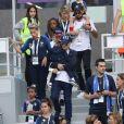 Isabelle Matuidi (femme de Blaise Matuidi) et son fils Eden - Célébrités dans les tribunes lors des quarts de finale de la Coupe du monde opposant la France à l'Uruguay au stade de Nijni Novgorod à Nijni Novgorod, Russie, le 6 juillet 2018. La France a gagné 2-0. © Cyril Moreau/Bestimage