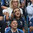 Valérie Bègue (Miss France 2008) et Jean Roch - Célébrités dans les tribunes lors des quarts de finale de la Coupe du monde opposant la France à l'Uruguay au stade de Nijni Novgorod à Nijni Novgorod, Russie, le 6 juillet 2018. La France a gagné 2-0. © Cyril Moreau/Bestimage