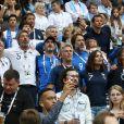 Nagui, sa femme Mélanie Page, Dylan Deschamps, Claude Deschamps, Michel Cymes, Bruno Solo, Leïla Kaddour-Boudadi et Valérie Bègue (Miss France 2008) - Célébrités dans les tribunes lors des quarts de finale de la Coupe du monde opposant la France à l'Uruguay au stade de Nijni Novgorod à Nijni Novgorod, Russie, le 6 juillet 2018. La France a gagné 2-0. © Cyril Moreau/Bestimage