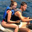 Luca Zidane, le fils de Zinédine Zidane, en vacances à Ibiza en sa compagne Charlotte. Instagram le 4 juillet 2018.