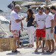 Lionel Messi en vacances avec sa femme Antonella Roccuzzo et sa famille à Ibiza le 17 juillet 2018.