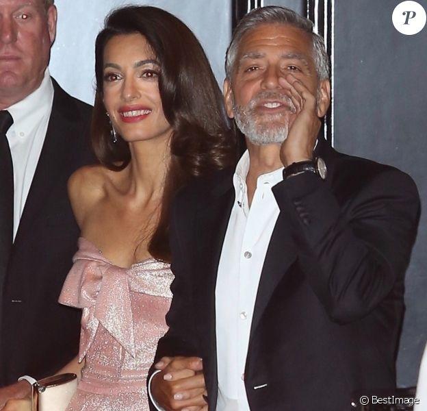 """George Clooney et sa femme Amal Clooney arrivent au restaurant Craig après la soirée annuelle """"AFI Life Achievement Award"""" à Los Angeles le 7 juin 2018"""