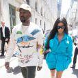 Kim Kardashian à Paris pour son ami, le créateur Virgil Abloh. La star, accompagnée de son mari Kanye West, s'est rendue au défilé de mode homme printemps-été 2019 Louis Vuitton à Paris, le 21 juin 2018.