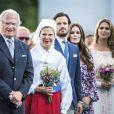 La famille royale de Suède à Borgholm le 14 juillet 2018 lors des célébrations du 41e anniversaire de la princesse héritière Victoria de Suède.