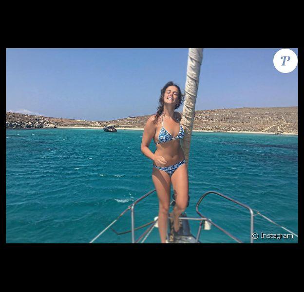 Pauline Ducruet en vacances dans les Cyclades en août 2016, étape à Rhénée, photo Instagram.
