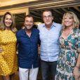 Exclusif - Gilbert et Nicole Coullier, Bernard Montiel, Francis Cabrel et sa femme Mariette - Francis Cabrel en concert lors du festival de Ramatuelle le 2 août 2018.