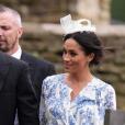 Meghan Markle en robe Oscar de la Renta pour le mariage de  Celia McCorquodale, la cousine du prince Harry et nièce de Lady Diana, en juin 2018.