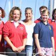 La comtesse Sophie de Wessex et sa fille Lady Louise Windsor au port de Portsmouth le 6 août 2018 pour une rencontre avec The Association of Sail Training à la marina Haslar.