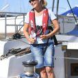 La comtesse Sophie de Wessex au port de Portsmouth le 6 août 2018 pour une rencontre avec The Association of Sail Training à la marina Haslar.