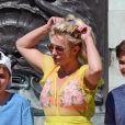 Exclusif - Britney Spears et ses enfants Jayden et Sean visitent Buckingham Palace et les autres attractions touristiques, accompagnés par deux gardes du corps. Londres, le 3 août 2018. M