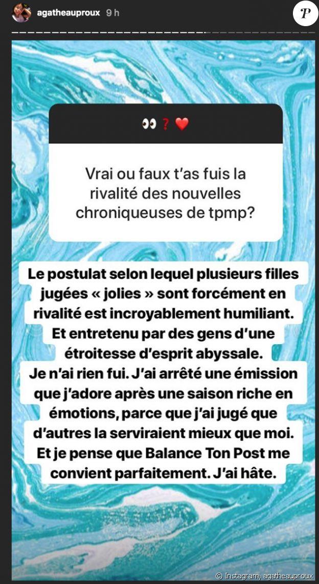"""Agathe Auproux répond aux détracteurs qui pensent qu'elle a quitté """"Touche pas à mon poste"""" (C8) à cause de l'arrivée de nouvelle chroniqueuses."""