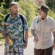 John Travolta et Fred Durst (de Limp Bizkit) en tant que réalisateur sur le tournage du film Moose à Los Angeles le 8 avril 2018.