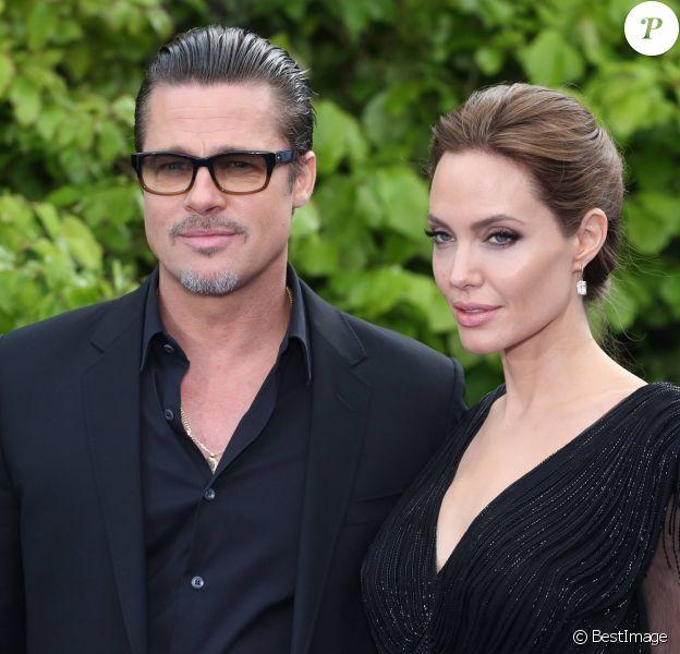 """Brad Pitt et Angelina Jolie - Première du film """"Maléfique"""" à Londres le 8 mai 2014."""