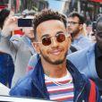 Lewis Hamilton arrive à la boutique Tommy Hilfiger à Londres. Le 10 juillet 2018