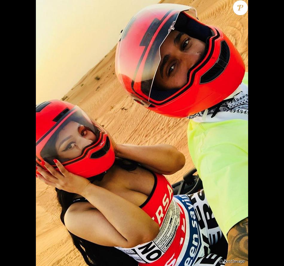 Lewis Hamilton et Nicki Minaj en virée dans le désert de Dubaï. Septembre 2018.