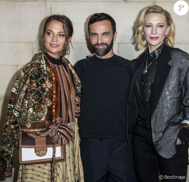 Alicia Vikander, Nicolas Ghesquière, Cate Blanchett à l'issue du défilé Louis Vuitton PAP femme printemps / été 2019 au Louvre à Paris le 2 octobre 2018. © Olivier Borde / Bestimage